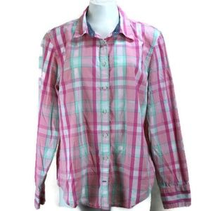 Vtg Tommy Hilfiger Plaid Button Up L/S Shirt